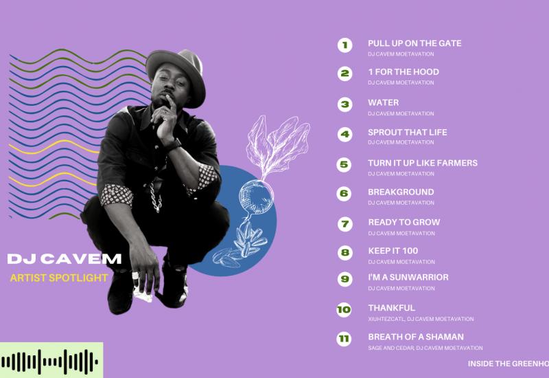 Image of DJ Cavem on Purple Background with List of featured songs on Artist Spotlight: DJ Cavem playlist.